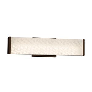Fusion - Latitude Dark Bronze LED Bath Vanity with Weave Artisan Glass