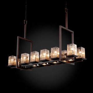 Fusion Montana 12-Up and Five-Downlight Dark Bronze Tall Bridge Chandelier