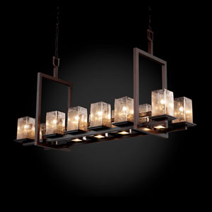Fusion Montana 12-Up and Five-Downlight Dark Bronze Short Bridge Chandelier