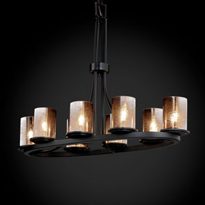 Fusion Dakota Eight-Light Matte Black Oval Ring Chandelier