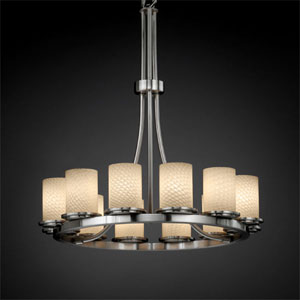 Fusion Dakota 12-Light Brushed Nickel Tall Ring Chandelier
