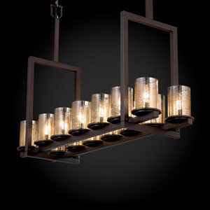 Fusion Dakota 14-Light Dark Bronze Tall Bridge Chandelier