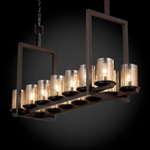 Fusion Dakota 14-Light Dark Bronze Short Bridge Chandelier