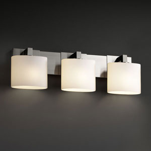 Fusion Modular Three-Light Brushed Nickel Bath Fixture