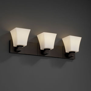 Fusion Modular Three-Light Dark Bronze Bath Fixture
