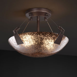 Fusion Tapered Clips 14-Inch Two-Light Dark Bronze Semi-Flush Bowl With Tapered Clips