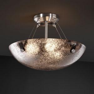 Fusion Finials 18-Inch Three-Light Dark Bronze Semi-Flush Bowl With Pair Cylindrical Finials