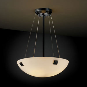 Fusion Finials 18-Inch Three-Light Matte Black Pendant Bowl With Concentric Squares Finial