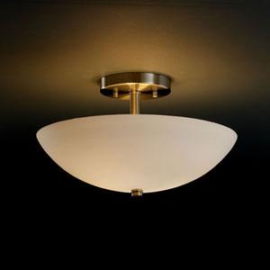Fusion Semi-Flush 14-Inch Two-Light Antique Brass Round Semi-Flush Bowl