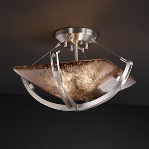 Fusion Crossbar CrossbarTwo-Light Brushed Nickel Semi-Flush Bowl With Crossbar