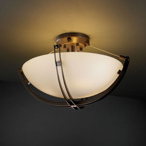 Fusion Crossbar CrossbarThree-Light Dark Bronze Semi-Flush Bowl With Crossbar