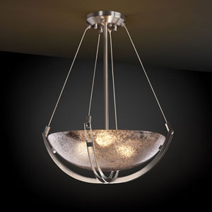 Fusion Crossbar CrossbarThree-Light Brushed Nickel Pendant Bowl With Crossbar