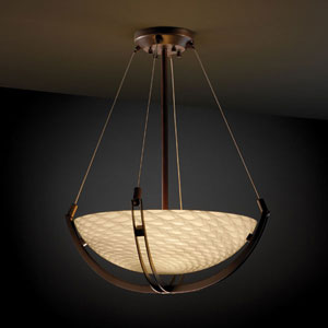 Fusion Crossbar CrossbarThree-Light Dark Bronze Pendant Bowl With Crossbar
