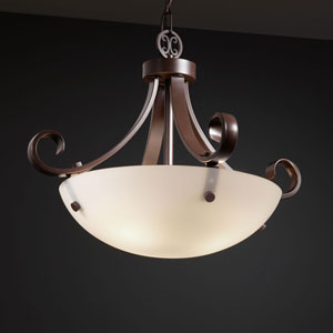 Fusion Scrolls with Finials 18-Inch Three-Light Dark Bronze Pendant Bowl Scrolls With Finials