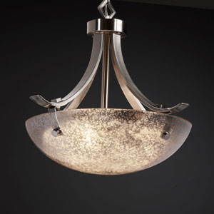 Fusion Flat Bars with Finials 18-Inch Three-Light Dark Bronze Pendant Bowl Flat Bars With Finials