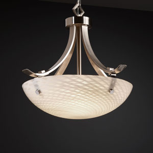 Fusion Flat Bars with Finials 18-Inch Three-Light Brushed Nickel Pendant Bowl Flat Bars With Finials