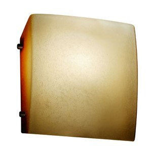 Fusion Matte Black LED Square Finial Wall Sconce with Caramel Glass