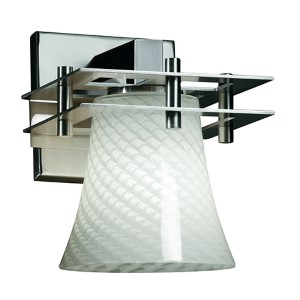 Fusion Metropolis Polished Chrome One-Light Round Flared Wall Sconce with Weave Glass