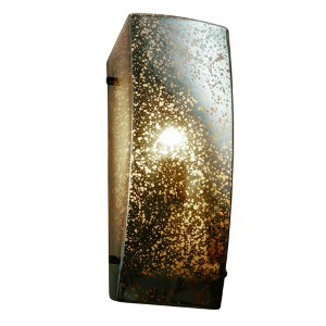 Fusion Dark Bronze One-Light Rectangular Finial Wall Sconce with Mercury Glass