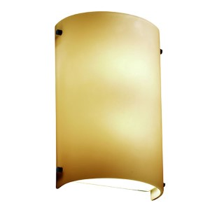 Fusion Matte Black LED Cylindrical Finial Wall Sconce with Almond Glass