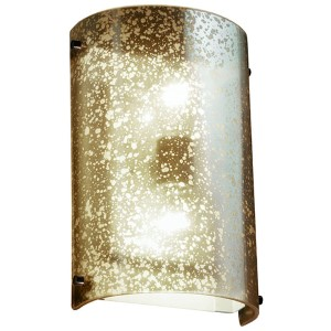 Fusion Dark Bronze LED Cylindrical Finial Wall Sconce with Mercury Glass