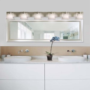 Fusion Brushed Nickel Six-Light Bath Bar