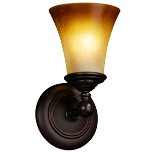 Fusion Tradition Dark Bronze One-Light Round Flared Wall Sconce with Caramel Glass