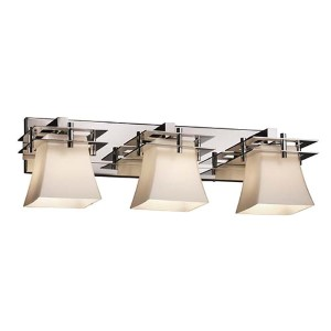 Fusion Polished Chrome Three-Light Bath Bar with Opal Glass