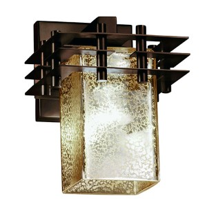 Fusion Metropolis Matte Black One-Light Flat Rim Square Wall Sconce with Mercury Glass