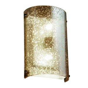 Fusion Dark Bronze Two-Light Cylindrical Finial Wall Sconce with Mercury Glass