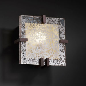 Fusion Clips Square Fluorescent Polished Chrome 1000 Lumen LED Wall Sconce
