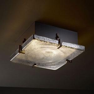 Fusion Clips 12-Inch Two-Light Fluorescent Matte Black Square 2000 Lumen LED Flush-Mount