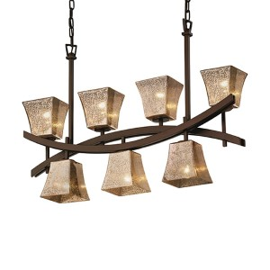 Fusion Dark Bronze Seven-Light Square Flared Crossbar Chandelier with Mercury Glass