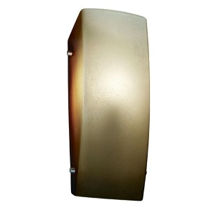 Fusion Brushed Nickel LED Rectangular Finial Wall Sconce with Caramel Glass
