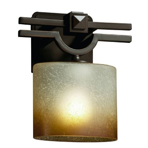 Fusion Argyle Dark Bronze One-Light Oval Wall Sconce with Caramel Glass