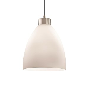 Fusion Brushed Nickel One-Light Short Tapered Cylinder Large Pendant with Opal Glass