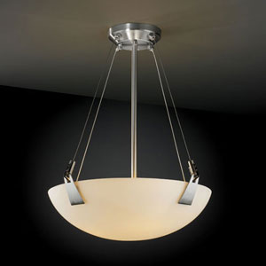 Fusion Tapered Clips 18-Inch Three-Light Brushed Nickel 3000 Lumen LED Pendant Bowl With Tapered Clips