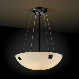 Fusion Finials 18-Inch Three-Light Matte Black 3000 Lumen LED Pendant Bowl With Concentric Squares Finial
