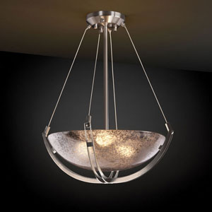 Fusion Crossbar Three-Light Brushed Nickel 3000 Lumen LED Pendant Bowl With Crossbar