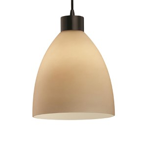 Fusion Dark Bronze One-Light Short Tapered Cylinder Large Pendant with Almond Glass