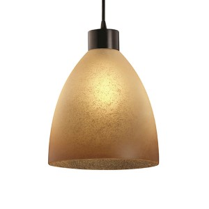 Fusion Dark Bronze One-Light Short Tapered Cylinder Large Pendant with Caramel Glass