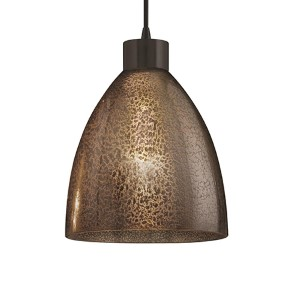 Fusion Dark Bronze One-Light Short Tapered Cylinder Large Pendant with Mercury Glass