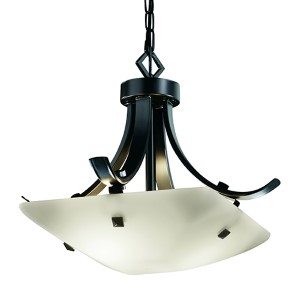 Fusion Matte Black LED 14-Inch Square Bowl Pendant with Flat Bar and Opal Glass