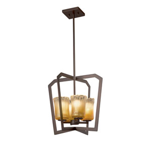 Veneto Luce - Aria Dark Bronze Four-Light LED Chandelier with Gold and Clear Rim Venetian Glass