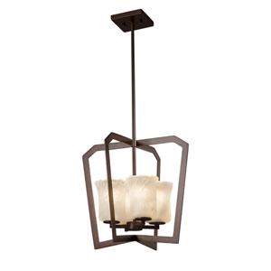 Veneto Luce - Aria Dark Bronze Four-Light Chandelier with Whitewash Venetian Glass
