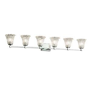 Veneto Luce - Tetra Polished Chrome Six-Light LED Bath Vanity with Lace Venetian Glass