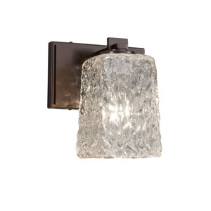 Veneto Luce - Era Dark Bronze LED Wall Sconce with Clear Textured Venetian Glass