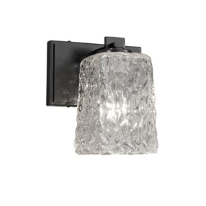 Veneto Luce - Era Matte Black LED Wall Sconce with Clear Textured Venetian Glass