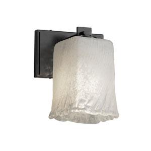 Veneto Luce - Era Matte Black LED Wall Sconce with Whitewash Venetian Glass