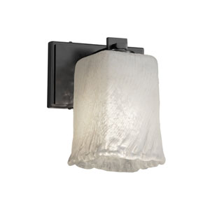 Veneto Luce - Era Matte Black One-Light Wall Sconce with Whitewash Venetian Glass